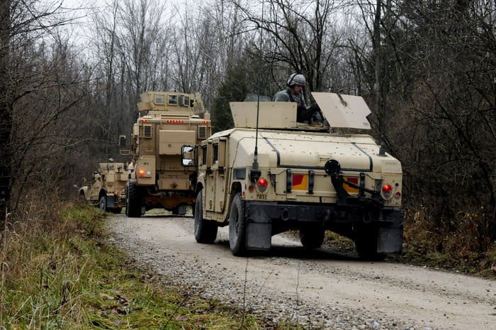 The 1438th Transportation Co., Indiana Army National Guard, conducts convoy operations and security training at Camp Atterbury Joint Maneuver Training Center in Edinburgh, Ind.