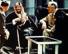 King Abdul Aziz with U.S. President Franklin Delano Roosevelt.