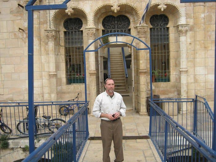 Ezra Ridgley Hebron in front of Beit Hadasah Photo by Ezra Ridgley