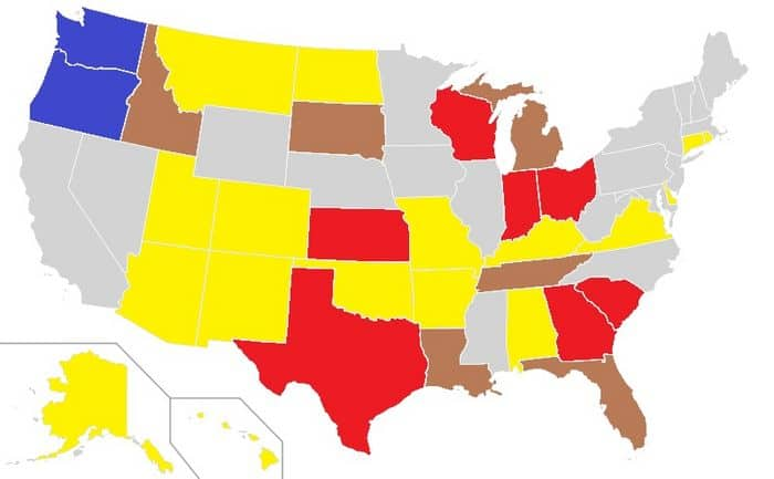 Voter ID laws in the US map