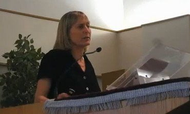 Hebrew lecturer Tammi Rossman Benjamin at UCSC giving her lecture June 20 2012. Photo YouTube Screenshot