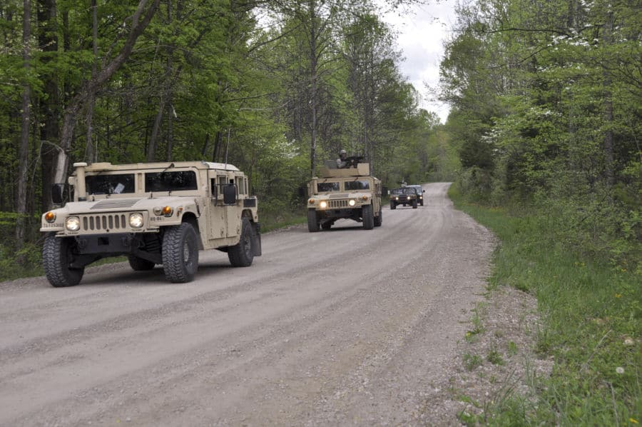 Soldiers with the 1st Battalion, 293rd Infantry Regiment, Delta Company, Indiana Army National Guard from Fort Wayne, Ind., conduct convoy operations in annual training at Atterbury Muscatatuck near Edinburgh, Ind.