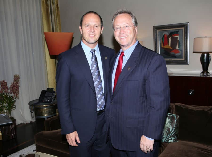 From L Jerusalem mayor Nir Barkat with former Beverly Hills mayor William Warren Brie Photo by Orly Halevy