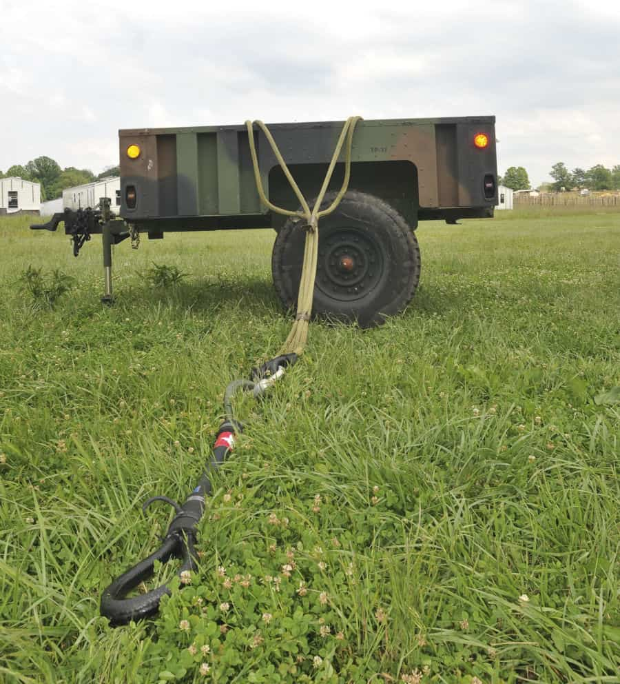 A utility trailer is prepped and waiting for sling load operations training at Muscatatuck, near Butlerville, Ind. The 1st Battalion, 137th Aviation Regiment, Ohio National Guard, is conducting their annual two week training at Muscatatuck.