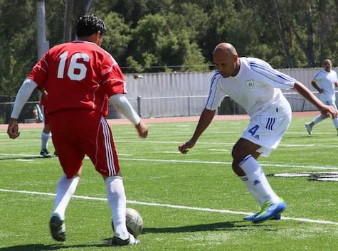 Israel soccer 35+ team in white Israel in red Iran June 2013 Photo Orly Halevy