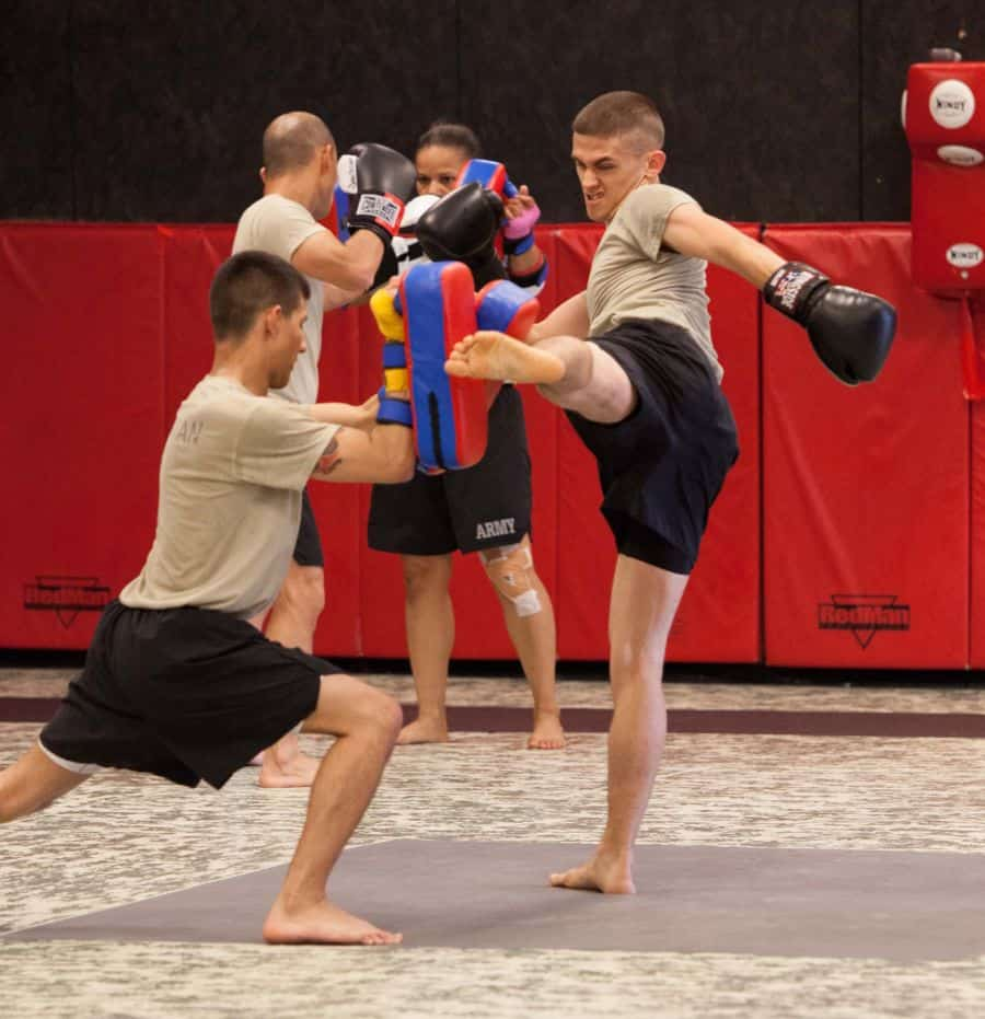 Army Soldiers from CAJMTC practice kick boxing in Basic Combatives Instructors Course.