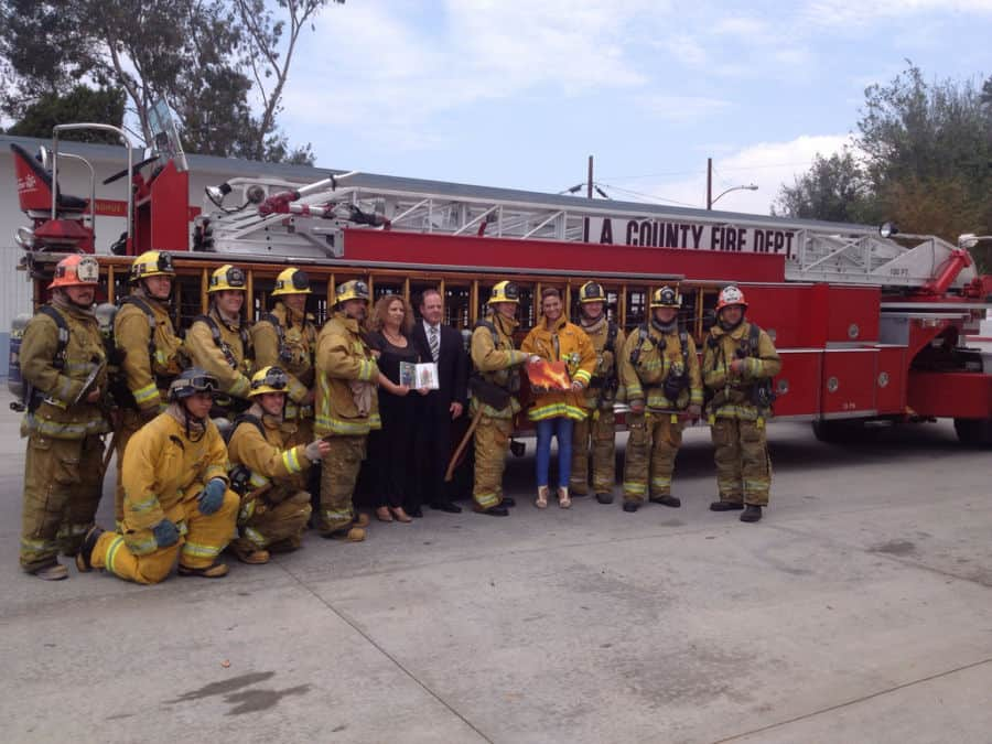 Hofit and Batsheva Hayat with Los Angeles fire fighters