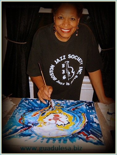 Guadulesa at work, painting