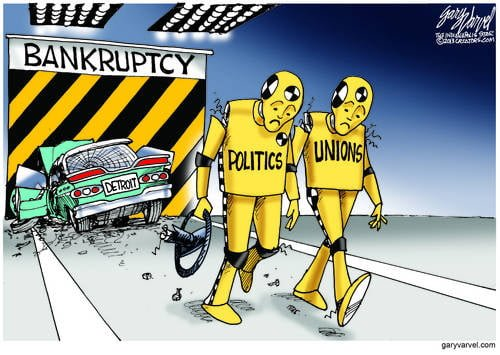 Politics And The Union Crash Dummies Work Together, Smash Detroit Into The Bankruptcy Wall