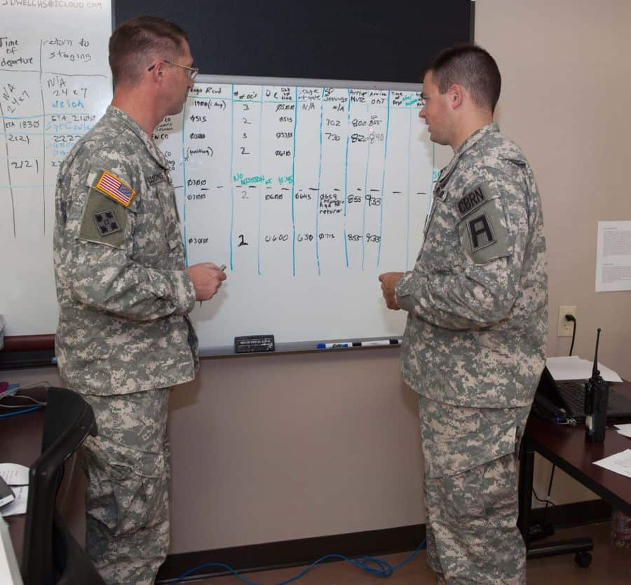 Maj. Scott Bullions and Capt. Philip Bucci, both observer/controller/trainers of 157th Infantry Brigade, First Army Division East keep track of the 415th Chemical Brigade and subordinate unit missions in support of Vibrant Response 13 2 at Task Force Operations headquarters in North Vernon, Ind.