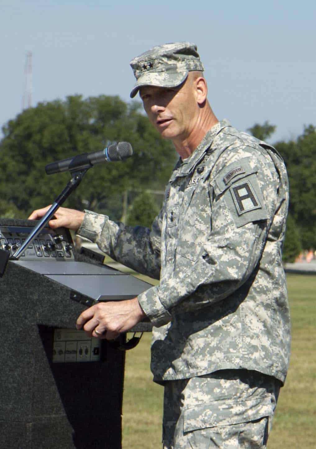 Maj. Gen. Jeffrey L. Bailey speaks at the podium.