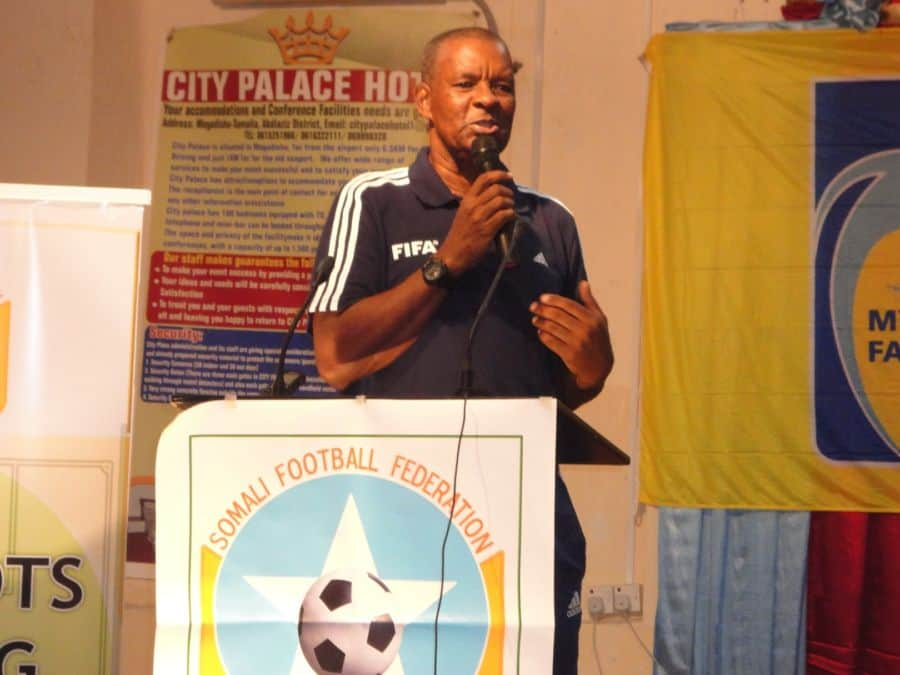 FIFA instructor Ulric Mathiot addressing at the closing ceremon