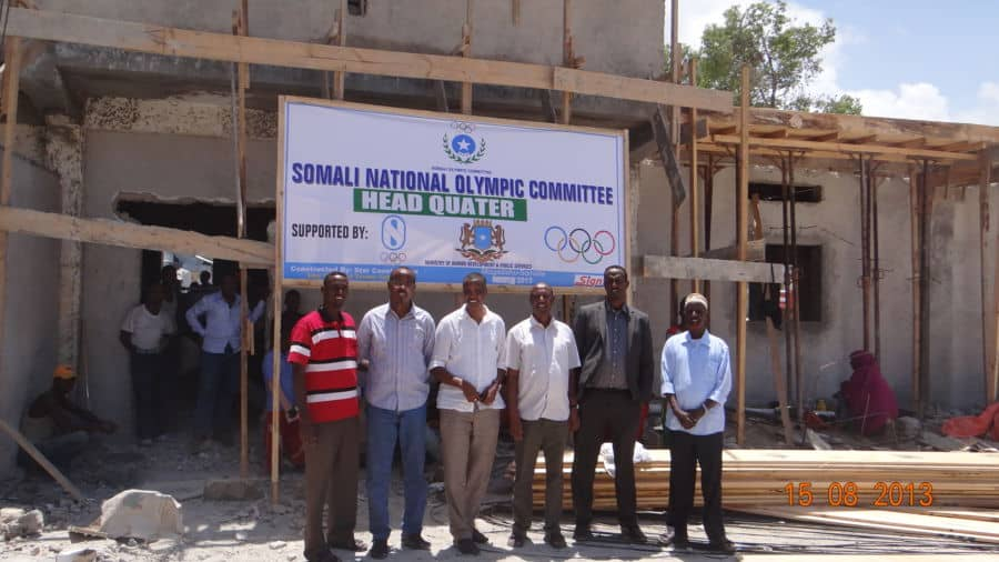 Somali NOC officials at the under construction compound