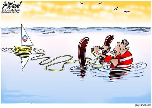 Waterskiing On Vacation, Obama Waits For The Economy Speedboat To Take Up The Slack