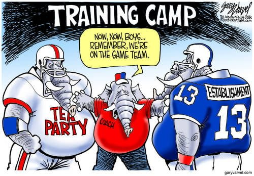 Tea Party And Republican Establishment Separated  By Their Coach, Trying To Prevent A Vicious Stoush