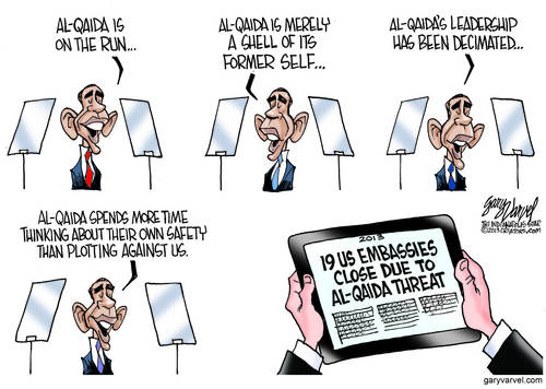 Obama: Al Qaeda Is On The Run, There Are No More Terrorists, So We Close Embassies To Celebrate