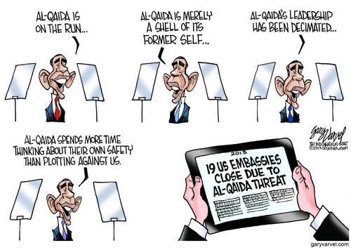 Obama: Al Qaeda Is On The Run, There Are No More Terrorists, So We Close Embassies To Celebrate