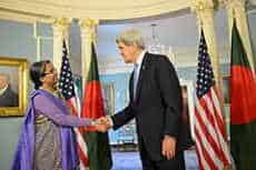 Bangladesh's Minister of Foreign Affairs Dipu Moni and US Secretary of State John Kerry at the State Department in 2013. State Department photo.