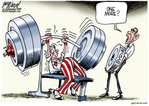 Uncle Sam Struggles With The Bench Press, As Obama Adds Another Weight