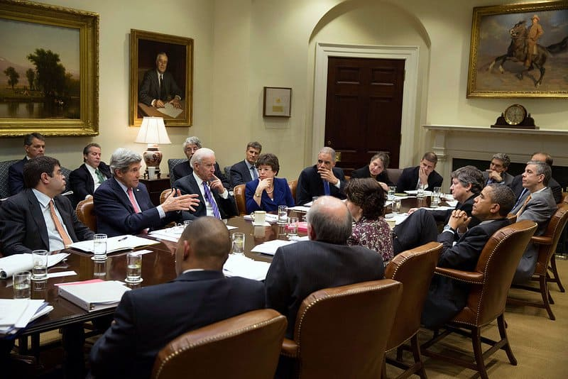 serious meeting. White House Photo.