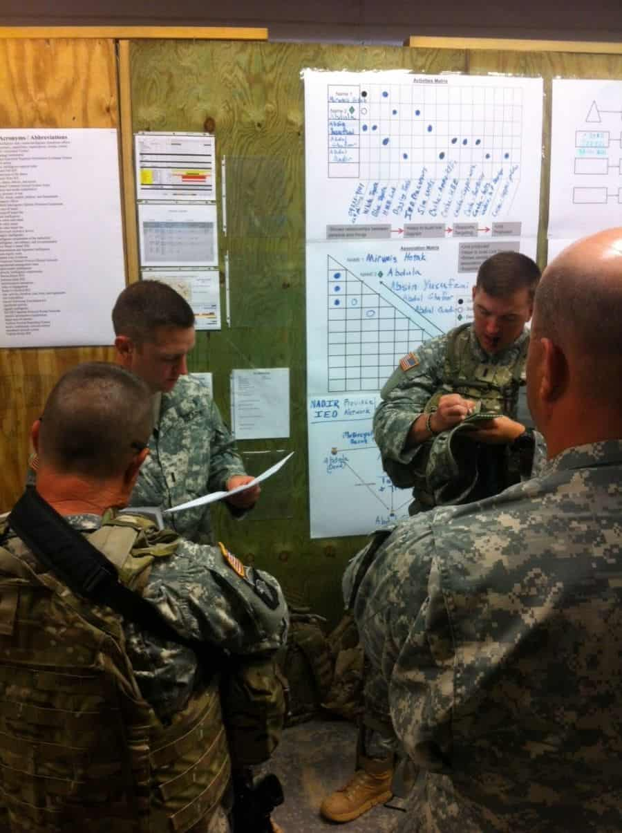 Company Intelligence Support Team members with the 1151st Engineer Company use COIST products and current intel picture overlays as part of Camp Shelby Joint Forces Training Center new intelligence training tool.