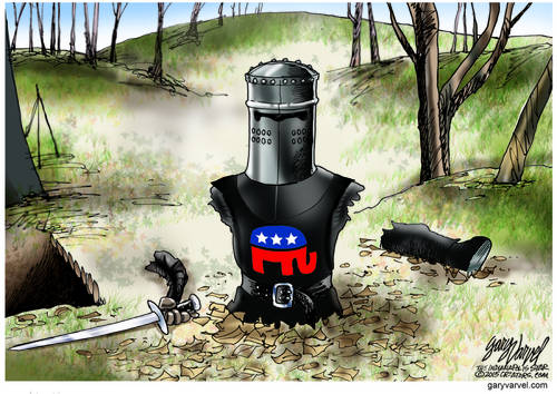 Republican Black Knight, Unwilling To Concede Defeat Fights On After Losing Everything