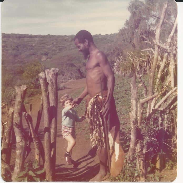 My son with a Zulu warrior in 1976