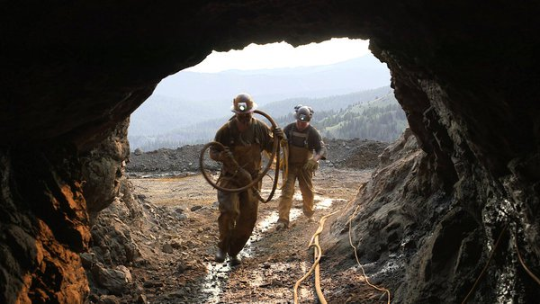 Keith Leingang and Jared Anderson, entering the Crescent Mine