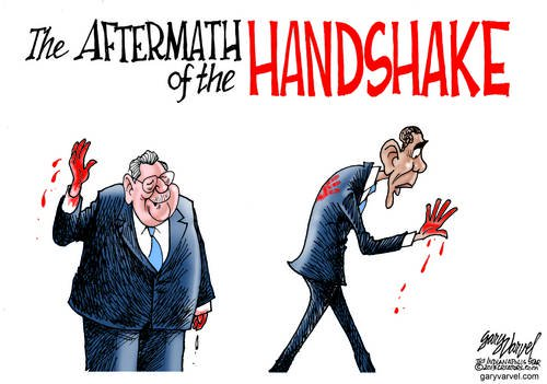 Obama Discovers You Can Shake Hands With Anyone, But Repercussions May Bite You