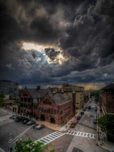Boston clouds storm rain over Fenway