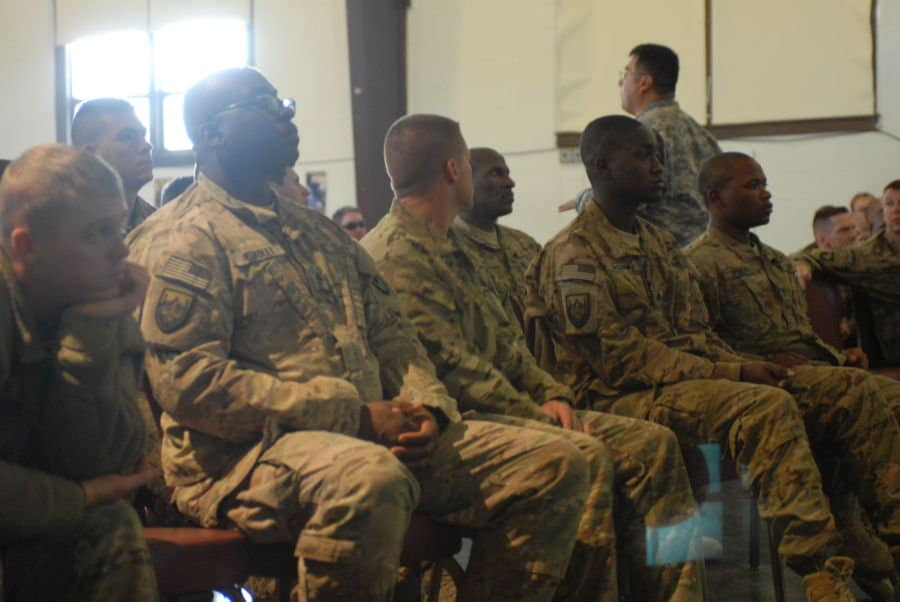 South Carolina Guardsmen in a demobilization group.