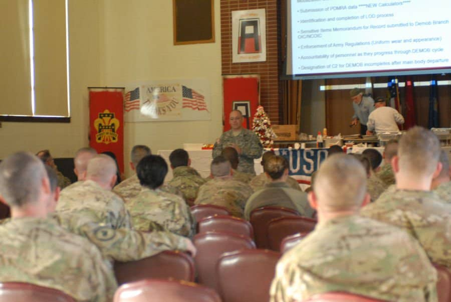 Guardsmen listen as a 3314th Demobilization Branch instructor speaks to the group.