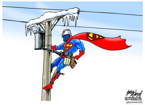 Super Linesman Works On Iced Up Power Lines