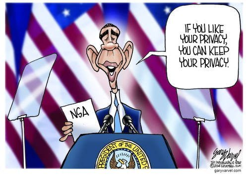 Obama Repurposes If You Like Your ... You Can Keep Your ... For The NSA Debacle cartoon