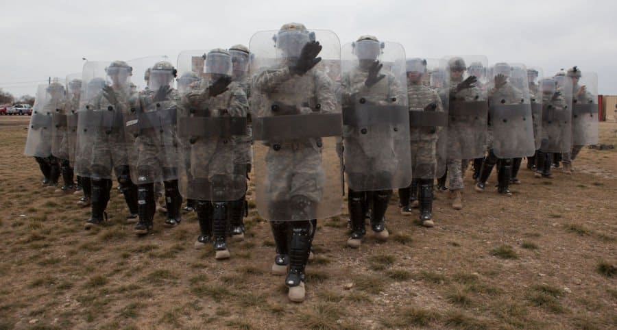 3rd Cavalry soldiers in a riot control formation.