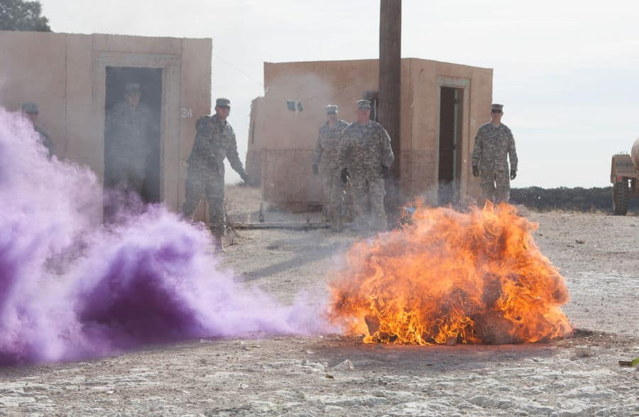 43 Cavalry Regiment trains to handle smoke bombs and molotov cocktails.