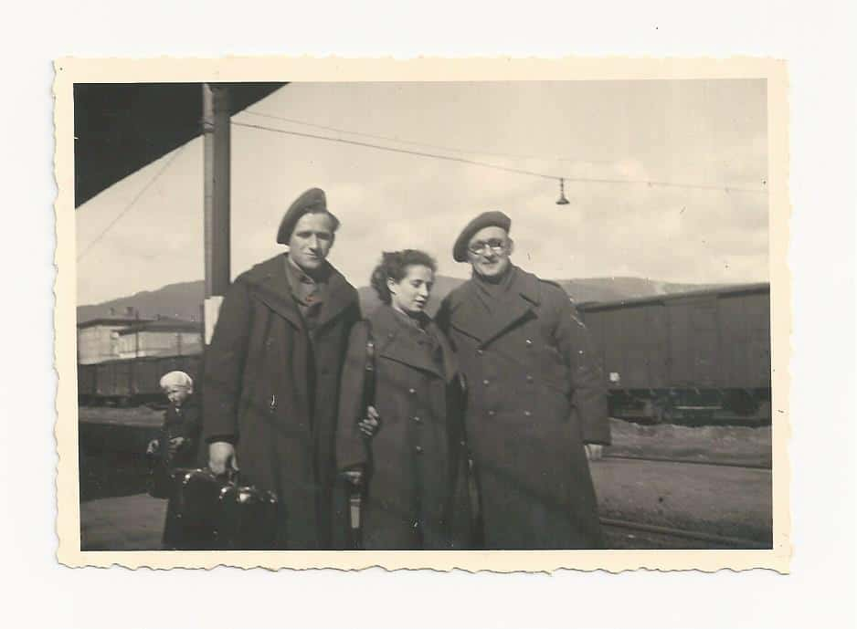 1946 From L Yisrael Gringer Rachel Katz and a friend in Europe after the war