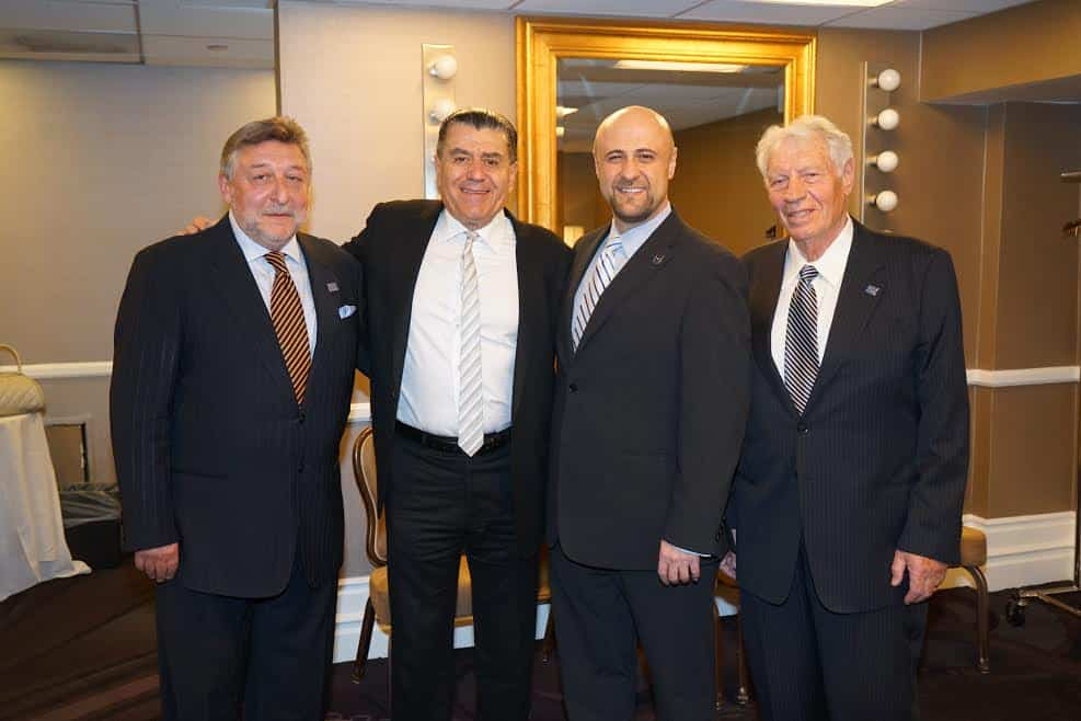 From L Eugene Levin President of Panorama Media Group Haim Saban Pastor Robert Stearns Fred Bess Ludmila Bess husband Photo Orly Halevy