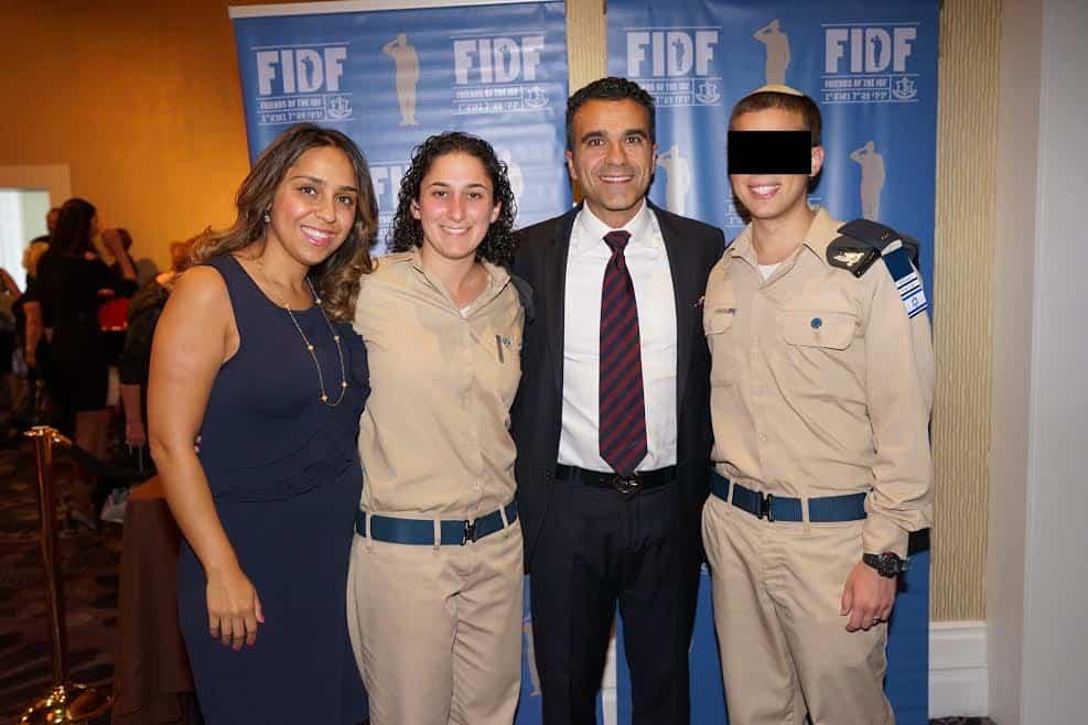 From L Malissa Etehad Corporal Aviva FIDF Western Region Vice President Simon Etehad Second Lieutenant Elnatan Photo Orly Halevy