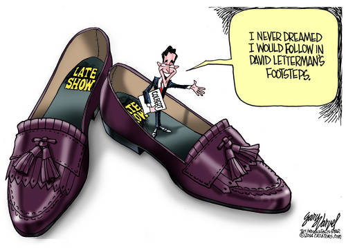 Will Stephen Colbert Discover His Feet Are Too Small For Letterman Shoes?