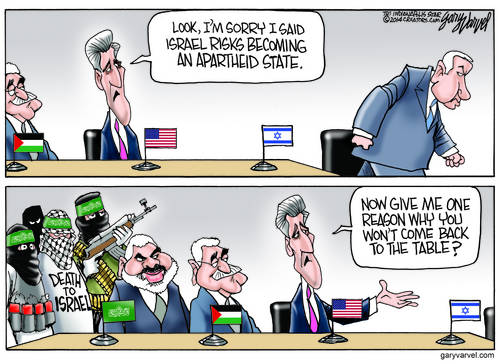 After Abusing Israel, Kerry Apologizes And He Really Means It, Really, Really, Really cartoon