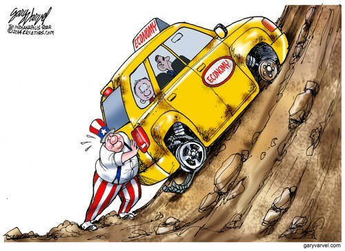Uncle Sam Is Having Trouble Pushing The Car Of State Uphill