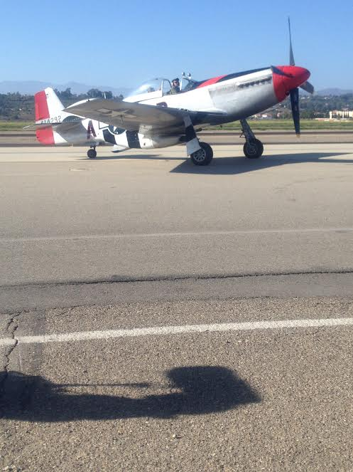 Mitch and Jason arriving from the flight in the Mustang