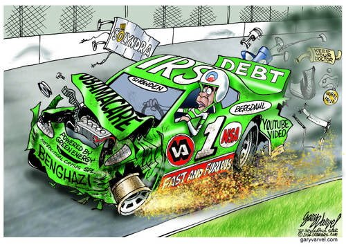 Obama Jalopy, Loaded With IRS, NSA, VA, Benghazi, Snowden, Bergdahl, Green Energy, Obamacare Is Not Fast and Furious