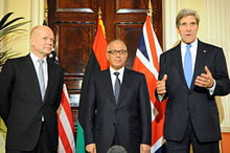 Libyan Prime Minister Ali Zeidan with U.S. Secretary of State John Kerry and British Foreign Secretary William Hague, November 2013. State Department photo.