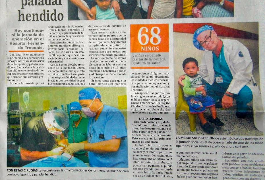 Dr. Talei in a newspaper when on a mission to Santa Marta Colombia