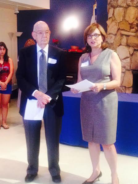 Hillel 818 outgoing Chairman Earl Greinetz Greinetz and incoming Chairwoman Deborah Kallick