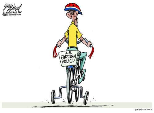 Barack Obama Takes US Foreign Policy For Another Spin: No Improvement cartoon