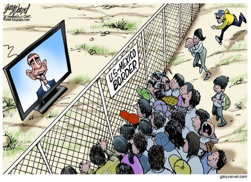 Big Screen TVs Have Been Placed Along The Border To Keep Obama Constituents Informed
