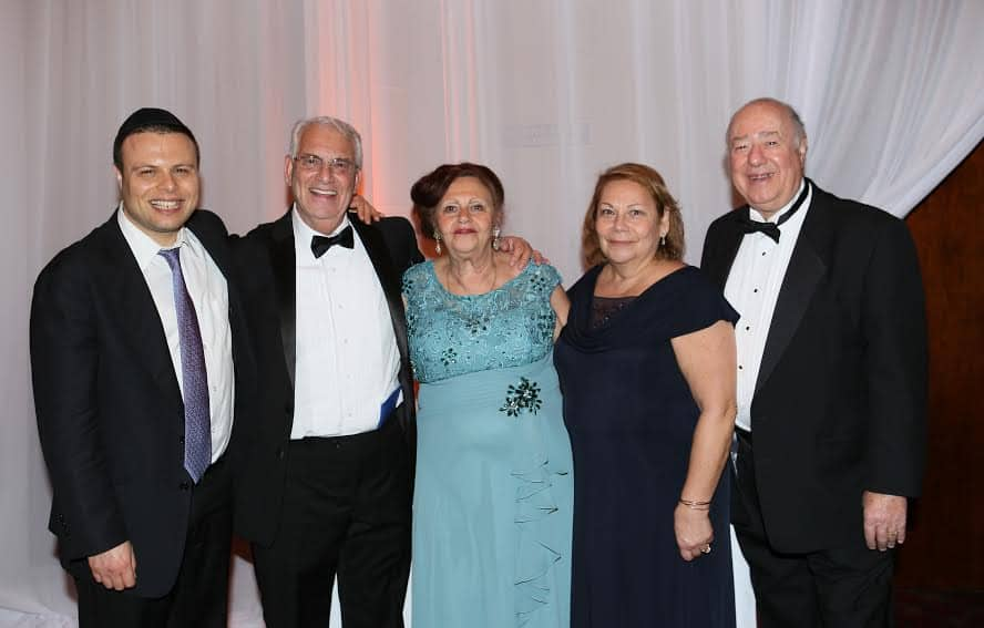From L Rabbi Tal Sessler rabbi of Sephardic Temple Tifereth Hazan Haim wife Rachel Mizrahi Rachel Hasson chairwoman of the gala Eddie Hasson Photo Orly Halevy